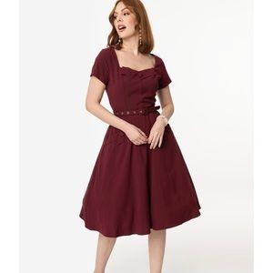 NWT Unique Vintage Voodoo Vixen Burgundy Dress